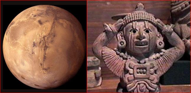 Links: Mars photographiert von Mariner 4 in 1965, rechts Azteken Gott Xipe [http://www.thunderbolts.info/tpod/2005/arch05/050412scarface.htm]