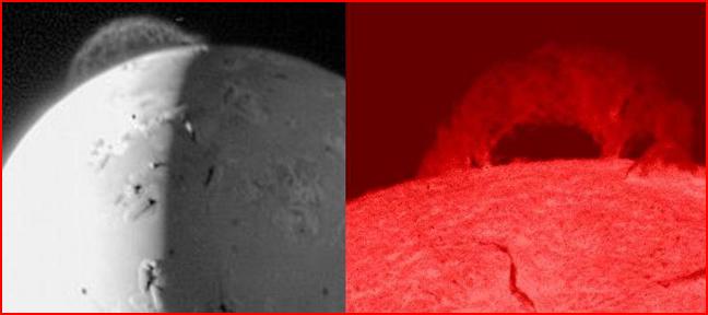 """links """"Vulkanausbruch"""" auf Io; rechts Sonneneruption"""