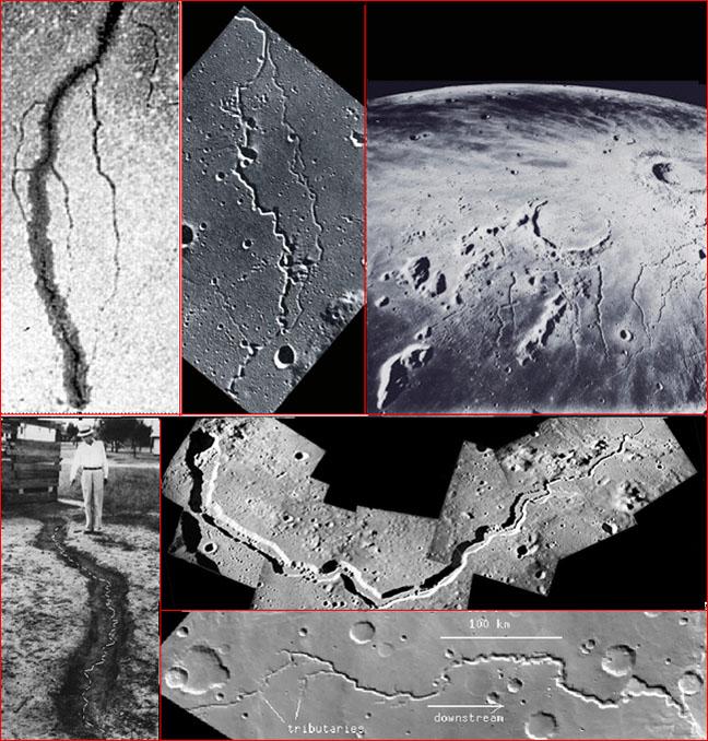 Rillen auf Erde, Mond und Mars